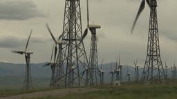 HD2009-6-20-43 wind turbines on ridge Stock Video Footage