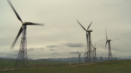 HD2009-6-20-45 wind turbines on ridge Stock Video Footage