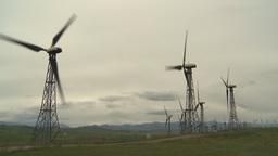 HD2009-6-20-45 wind turbines on ridge Stock Video Footage