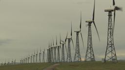 HD2009-6-20-47 wind turbines on ridge Stock Video Footage