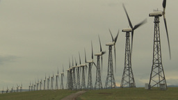 HD2009-6-20-47 wind turbines on ridge Stock Video Footage