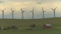 HD2009-6-20-49b wind turbines on ridge and farm Stock Video Footage