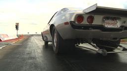 HD2009-6-22-17 motorsports, drag racing silver camaro launch Stock Video Footage