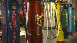 HD2009-6-23-6 Old gas pumps 3-shot Stock Video Footage