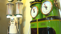HD2009-6-23-8 Old gas pumps 3-shot Stock Video Footage