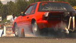 HD2009-6-27-72 motorsports, drag racing mustang brnout Stock Video Footage
