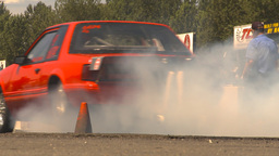 HD2009-6-27-72 motorsports, drag racing mustang brnout Stock Video Footage