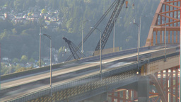 HD2009-6-29-24 vancouver Port Mann bridge traffic TL Stock Video Footage