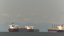 HD2009-6-31-5 cargo ships in strait tilt down reveal Stock Video Footage
