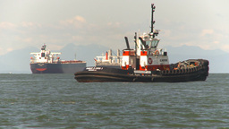 HD2009-6-31-13 tug boat cargo ships Stock Video Footage