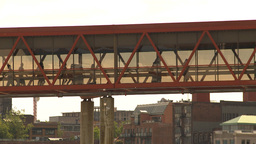 HD2009-6-31-31 people on skywalk Stock Video Footage