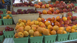 HD2009-6-31-41 Granville island market peaches and berries Stock Video Footage