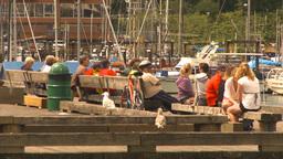 HD2009-6-31-45 Granville island people on dock Stock Video Footage