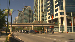 HD2009-6-32-25 traffic skytrain and condos Stock Video Footage