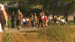 HD2009-6-32-52 people on walkway Stock Video Footage