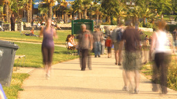 HD2009-6-32-54 people on walkway TL Stock Video Footage