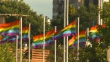 HD2009-6-33-6 Rainbow Flags stock footage
