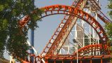 HD2009-6-33-8 Loop Rollercoaster stock footage