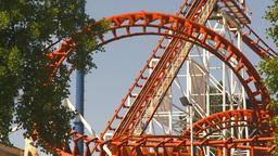HD2009-6-33-8 loop rollercoaster Stock Video Footage