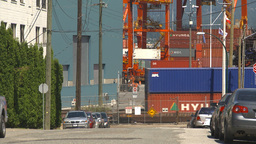 HD2009-6-33-22 intermodal train and shipyard Stock Video Footage