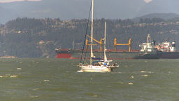 HD2009-6-33-36 sail boats cargo ships windy Footage