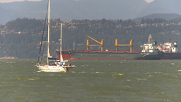 HD2009-6-33-36 sail boats cargo ships windy Stock Video Footage
