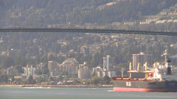 HD2009-6-34-15 cargo ship passes under bridge TL Footage