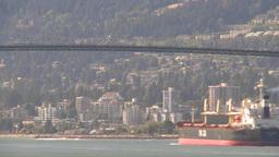 HD2009-6-34-15 cargo ship passes under bridge TL Footage