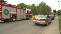 HD2009-6-15-3 firetrucks x3 Stock Video Footage