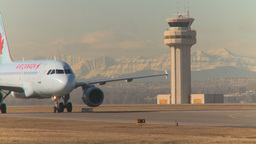 HD2009-3-1-16 Airbus taxi mtns in bg Stock Video Footage