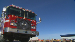HD2009-3-1-20 fire truck and bus Stock Video Footage