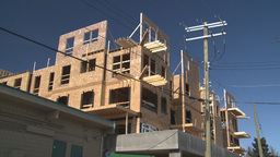 HD2009-3-2-6 condo construction workers Stock Video Footage