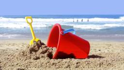 Beach Bucket In Sand stock footage