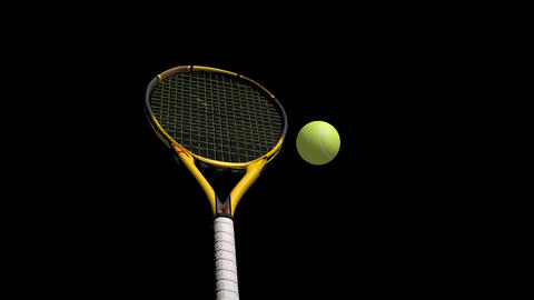 3D Tennis Racket and Tennis Balls Animation