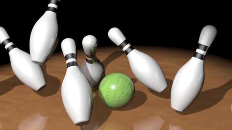 Bowling Pin Falling Down Animation
