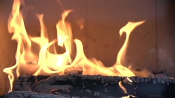 Fire Burning In Fireplace stock footage