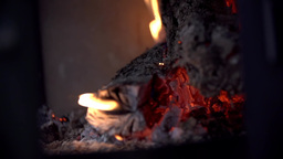 Charcoal Burning In Fireplace Slow Motion stock footage