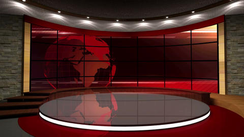 News TV Studio Set 06 Virtual Green Screen Backgro Footage