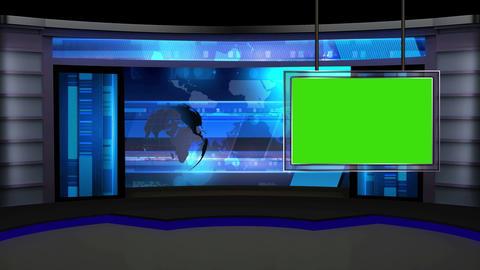 News TV Studio Set 13 Virtual Green Screen Backgro stock footage