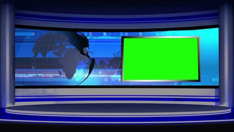 News TV Studio Set 15 Virtual Green Screen Backgro stock footage