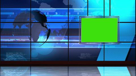 News TV Studio Set 18 Virtual Green Screen Backgro stock footage