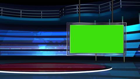 News TV Studio Set 25 Virtual Green Screen Backgro stock footage