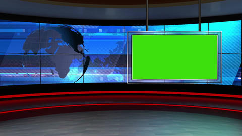 News TV Studio Set 24 Virtual Green Screen Backgro stock footage