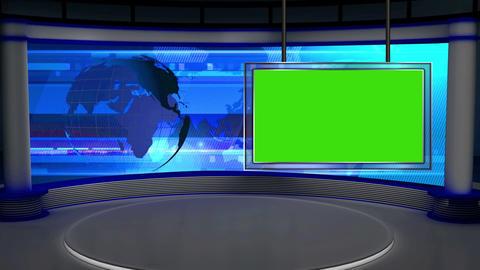 News TV Studio Set 28 Virtual Green Screen Backgro stock footage