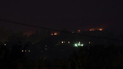 Night fire. Lights wheat field. FULL HD Footage