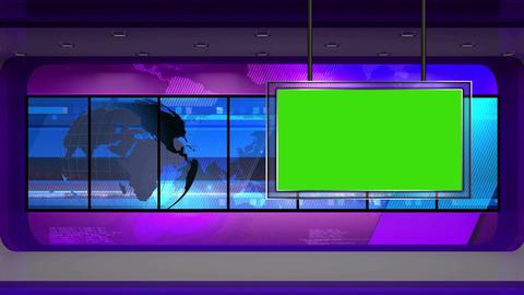 News TV Studio Set 30 Virtual Green Screen Backgro stock footage
