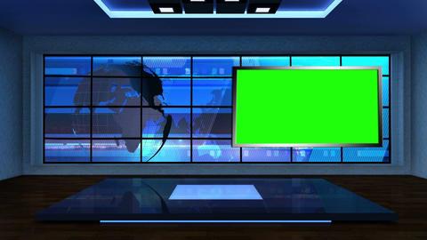 News TV Studio Set 09 Virtual Green Screen Backgro stock footage