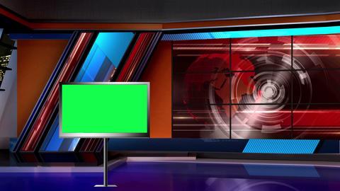 News TV Studio Set 10 Virtual Green Screen Backgro stock footage