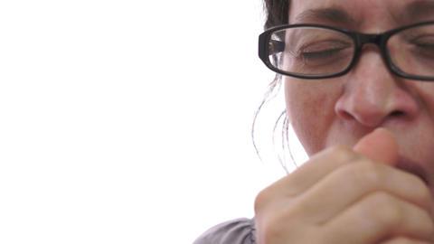 Woman Yawning Closeup Half Face Live Action