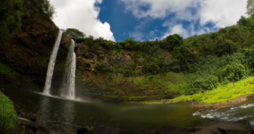 4K Timelapse of Wailua Falls, Hawaii Footage